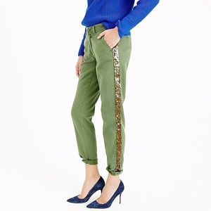 J. Crew | Army Green + Sequin Tuxedo Chino Pant